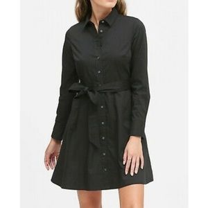 BANANA REPUBLIC Poplin Shirt Dress, Black, Size 4